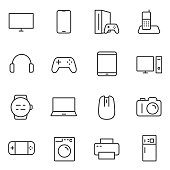 Electronic devices icons set. Gadgets and household appliances. Vector linear icon.