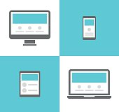 Electronic devices vector icons. Smartphone, tablet, laptop and desktop computer