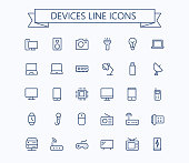 Electronic devices vector thin line mini icons set. 24x24 Grid. Pixel Perfect.Editable stroke. eps 10