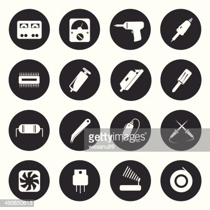 Electronic Icons Repair Equipment Tools Vector Illustration Vector