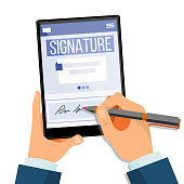 Electronic Signature Tablet Vector. Electronic Document, Contract. Digital Signature. Isolated Illustration