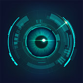 cyber futuristic eye in dark bule-green tone, concept of cyber security