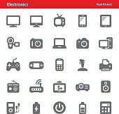 Professional, pixel perfect icons depicting various electronics and gadgets concepts.
