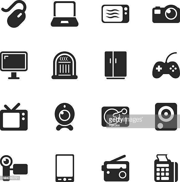 Silueta de iconos de electrónica