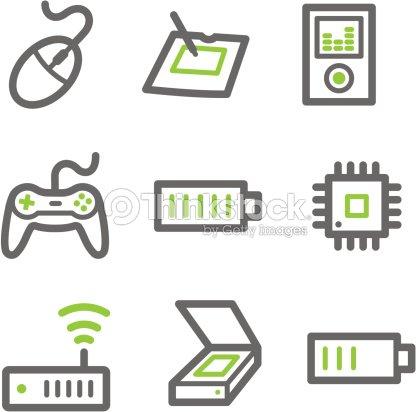 Electronics Web Icons Green And Gray Contour Series Set 2