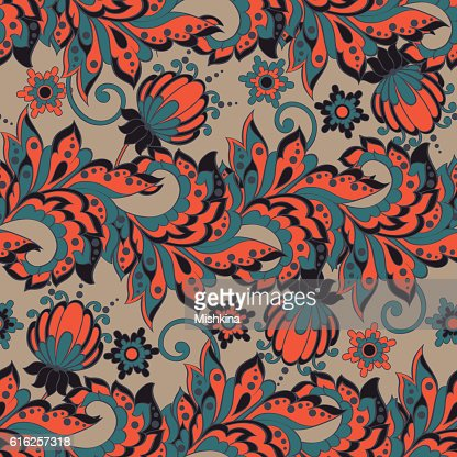 Elegance seamless pattern with ethnic flowers. Vector Floral Illustration : Vector Art