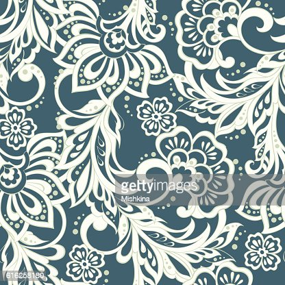 Elegance seamless pattern with ethnic flowers. Vector Floral : Arte vectorial