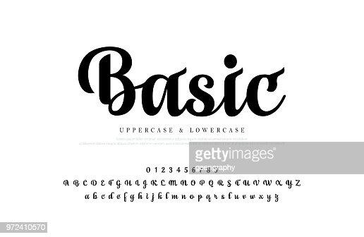 Elegante Alphabet Buchstaben gesetzt. Custom Schriftzug Designklassiker für Logo, Plakat, Einladung, etc.. Typographie Schriftart klassisch, regelmäßige Zahl. Vektor illustrator : Vektorgrafik