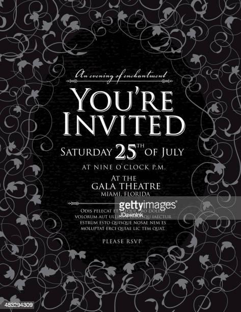 Eleganten schwarzen und weißen Einladung design-Vorlage
