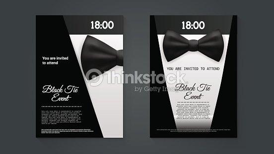 a4 elegant black tie event invitation template vector art thinkstock