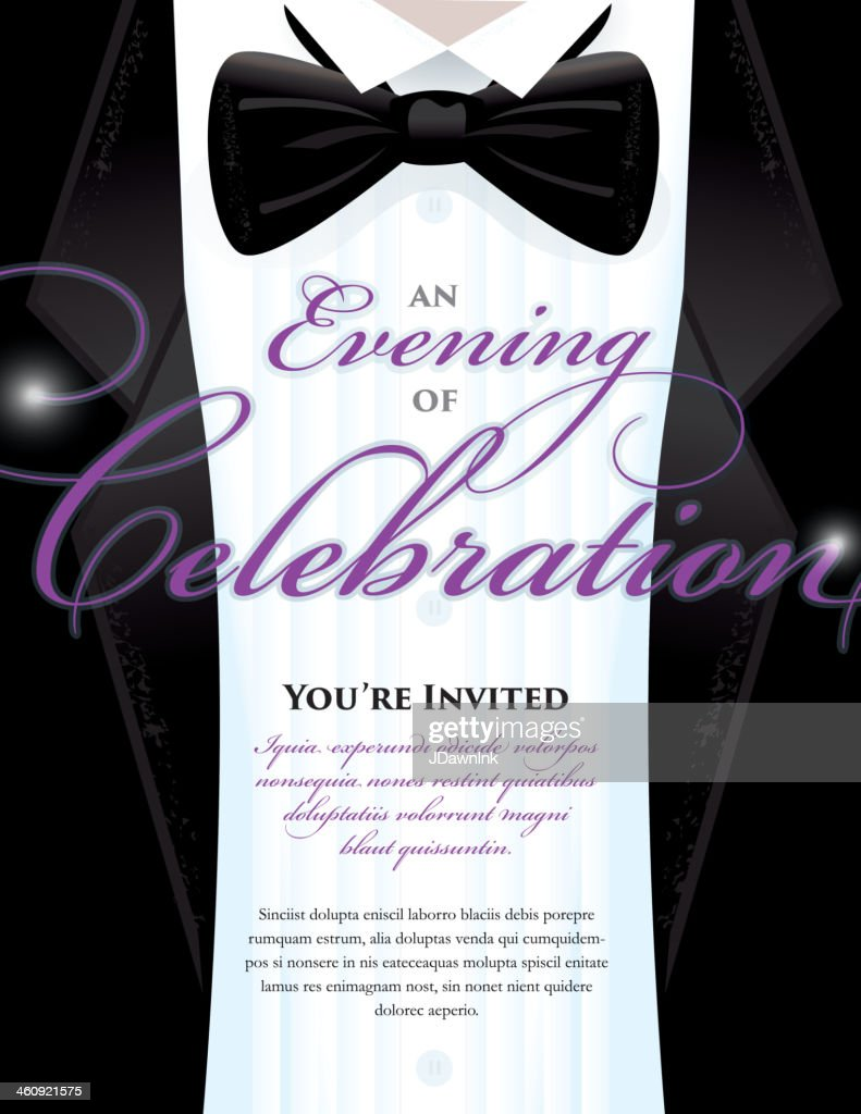 Elegant Black Tie Event Invitation Template With Tuxedo Design – Gala Invitation Template