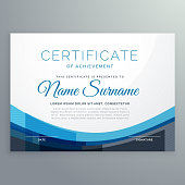 elegant blue wavy certificate of achievement vector design