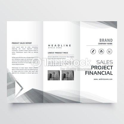 elegant business trifold brochure design with gray wavy shapes