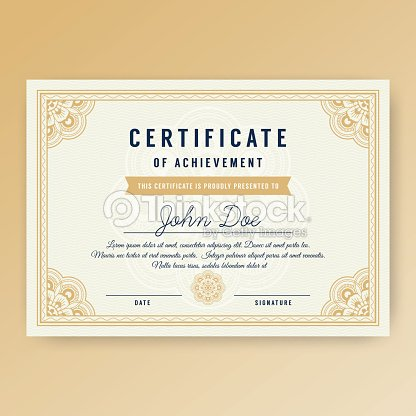 elegant certificate of achievement with ornaments vector art