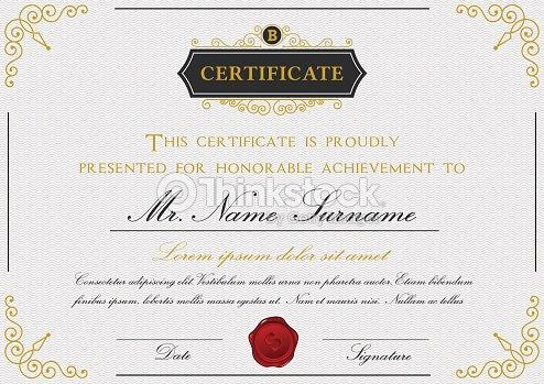Elegant Certificate Template Design With Emblem Border Vector Art