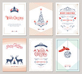 Elegant vertical winter holidays greeting cards with New Year tree, doves, reindeers, Christmas ornaments and ornate typographic design. Vector illustration.