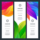 Elegant Colorful Banners with Flowers Petals. Abstract Beautiful Backgrounds. Vector Vibrant  Graphic for Business Cards, Web Banners, Invitation Cards, Party Posters and Advertisement Flyers.