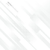 Elegant diagonal geometric white background with radial halftone dots pattern. Vector illustration