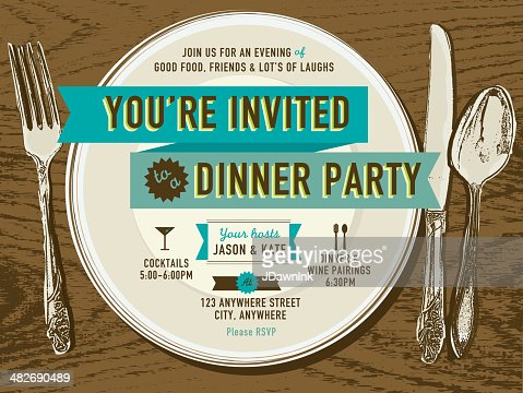 Vertical Elegant Dinner Party Invitation Design Template Vector – Dinner Party Invitations Templates