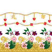 Golden keys and floral ornaments on contrast background. Vintage textile collection.