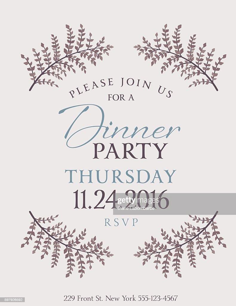 Elegant Fall Dinner Party Invitation Template Vector Art Getty