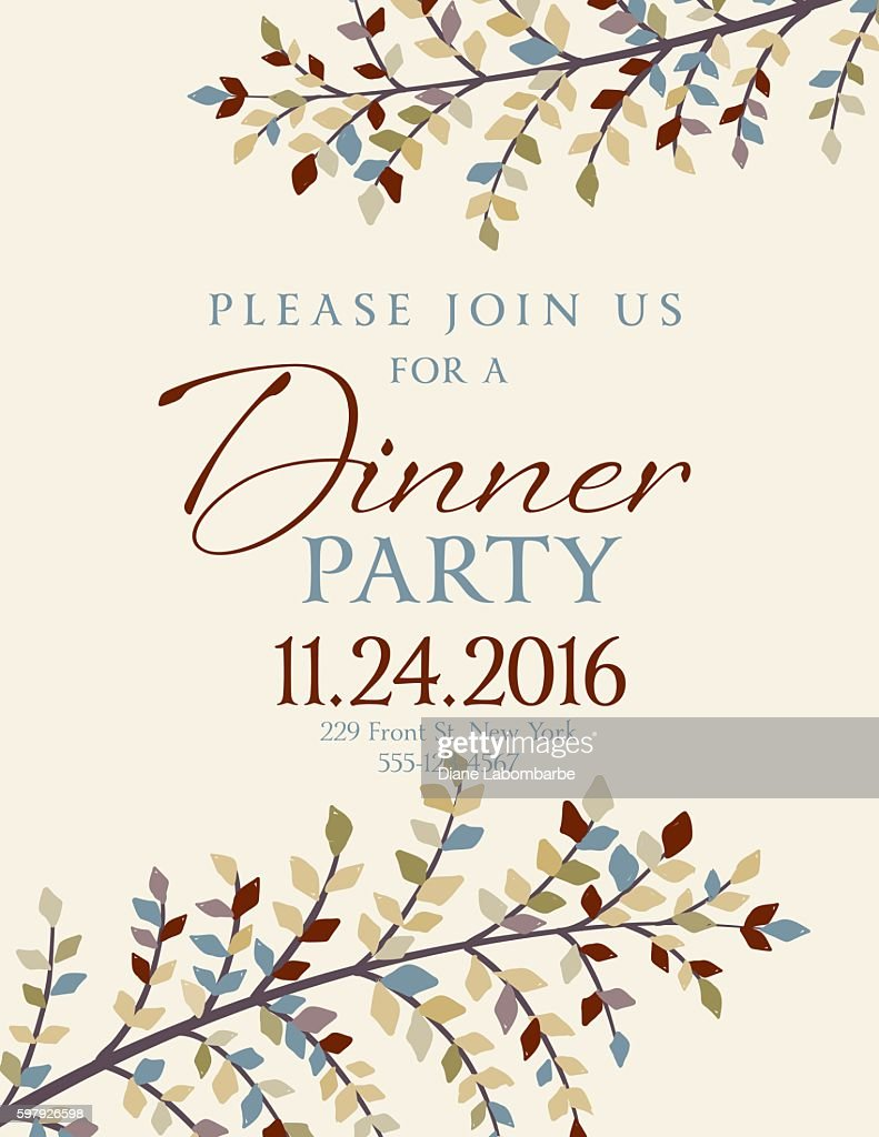 Elegant Fall Dinner Party Invitation Template Vector Art – Dinner Party Invitation Templates