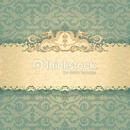 Elegant Frame Banner With Ornate Wallpaper Background Stock
