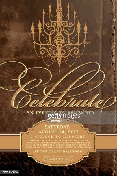 Elegant invitation design template with chandelier brown antique background