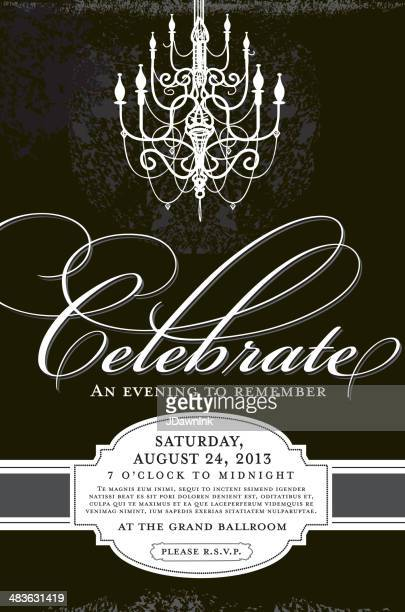 Elegant invitation design template with chandelier