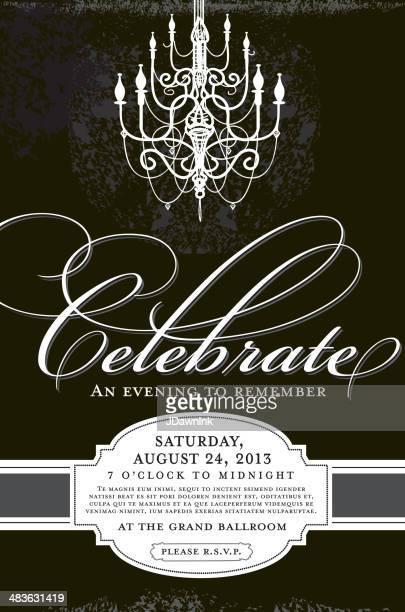 Elegante Einladung design-Vorlage mit Kronleuchter