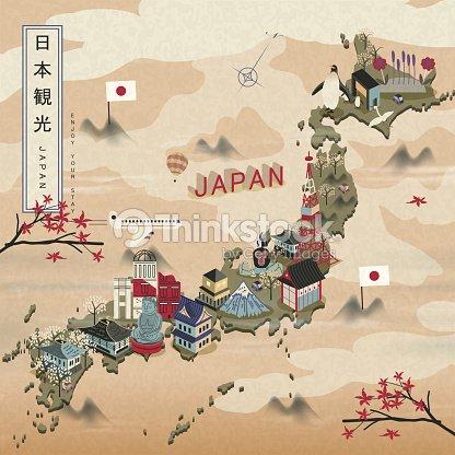 Elegant Japan Travel Map Vector Art Thinkstock - Japan map vector art