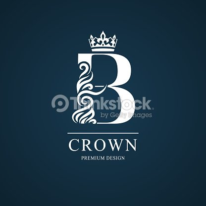 Elegant Letter B With Crown Graceful Style Calligraphic Beautiful ...
