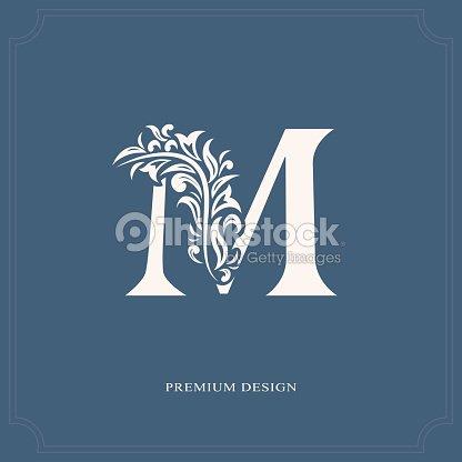 Elegant Letter M Graceful Style Calligraphic Beautiful Sign Vintage Drawn Emblem For Book