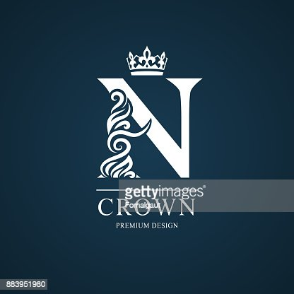 Elegant Letter N With Crown Graceful Style Calligraphic Beautiful