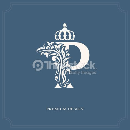 Elegant Letter P With A Crown Graceful Royal Style Vector Art