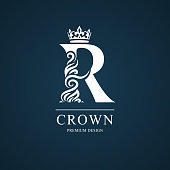 Vector illustration of Elegant letter R with crown. Graceful style. Calligraphic beautiful sign. Vintage drawn emblem for book design, brand name, business card, Restaurant, Boutique, Hotel