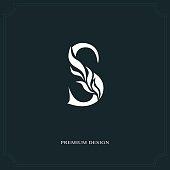 Vector illustration of Elegant letter S. Graceful style. Calligraphic beautiful sign. Vintage drawn emblem for book design, brand name, business card, Restaurant, Boutique, Hotel