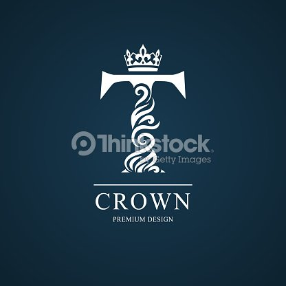 Elegant Letter T With Crown Graceful Style Calligraphic Beautiful Sign Vintage Drawn Emblem For Book Design Brand Name Business Card Restaurant