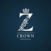 Vector illustration of Elegant letter Z with crown. Graceful style. Calligraphic beautiful sign. Vintage drawn emblem for book design, brand name, business card, Restaurant, Boutique, Hotel