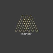 Elegant line curve vector logotype. Premium letter M logo design. Luxury linear creative monogram.