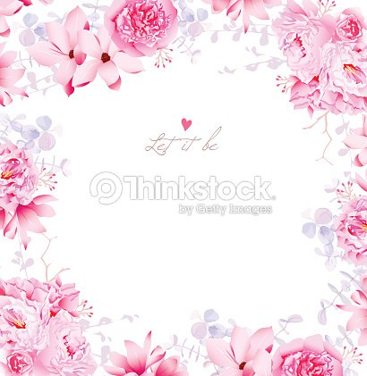Elegant Magnolia And Peonies Vector Frame Art