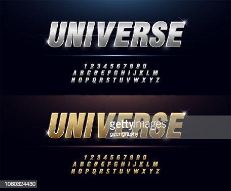 Elegant Silver and Golden Colored Metal Chrome Alphabet Font. Typography modern style gold font set for logo, Poster, Invitation. vector illustration : stock vector