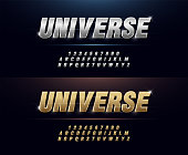 Elegant Silver and Golden Colored Metal Chrome Alphabet Font. Typography modern style gold font set for logo, Poster, Invitation. vector illustration