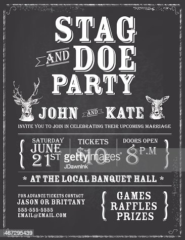 Elegant Stag And Doe Engagement Party Chalkboard Invitation Design