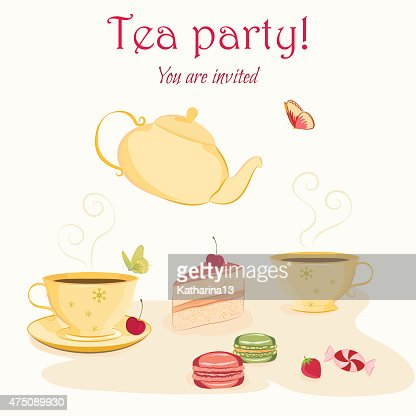 Elegant Tea Party Invitation Template With Teacups And Sweets Vector