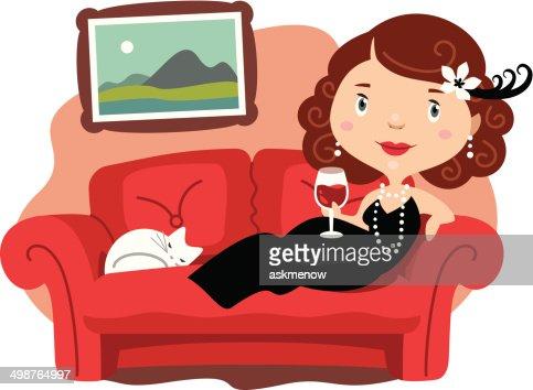 Elegante donna sdraiata sul divano arte vettoriale getty images - Video sesso sul divano ...