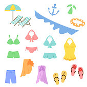 Elements of the bathing suit such as bathing suits and beach sandals.