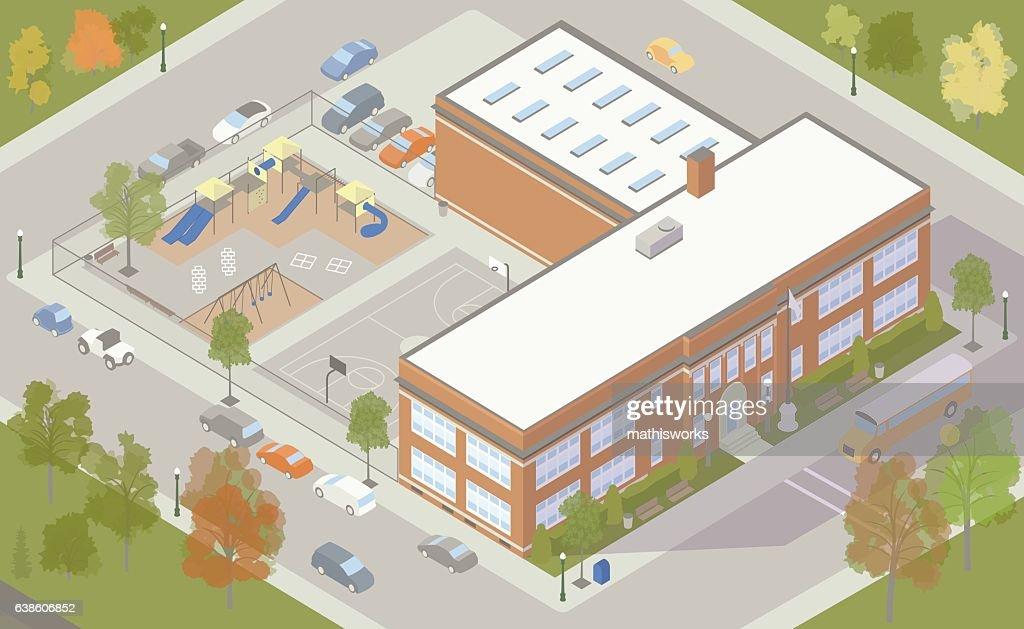 Elementary School Building Illustration : Vector Art