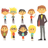 Elementary School Group Of Schoolchildren With Their Male Teacher In Suit Set Of Cartoon Characters. Primary School Class Kids Vector Stylized Illustration In Bright Colors.