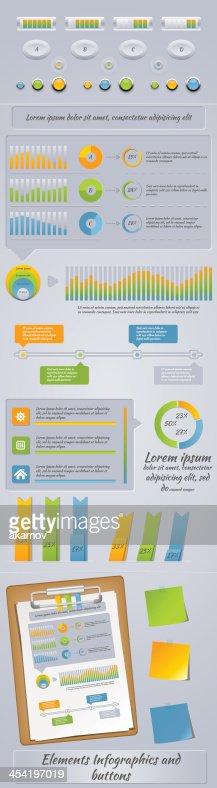 Elementos Infographics e botões : Arte vetorial